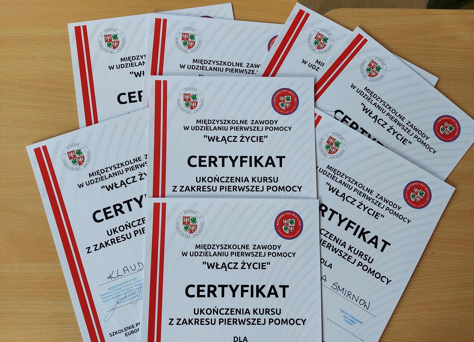 certyfikaty uczestników kursu